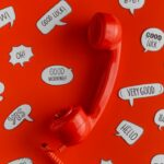 top view selection chat bubbles with telephone receiver